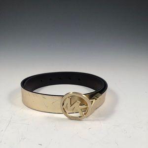 MICHAEL KORS Reversible Gold/Brown Leather Belt